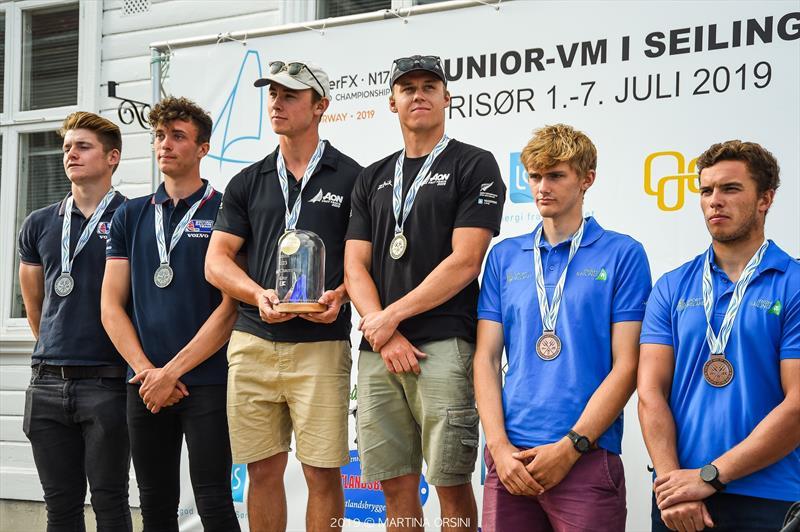 Isaac McHardie and William McKenzie - NZL - 49er Junior World Champions, Risor, Norway - July 2019 - photo © Martina Orsini