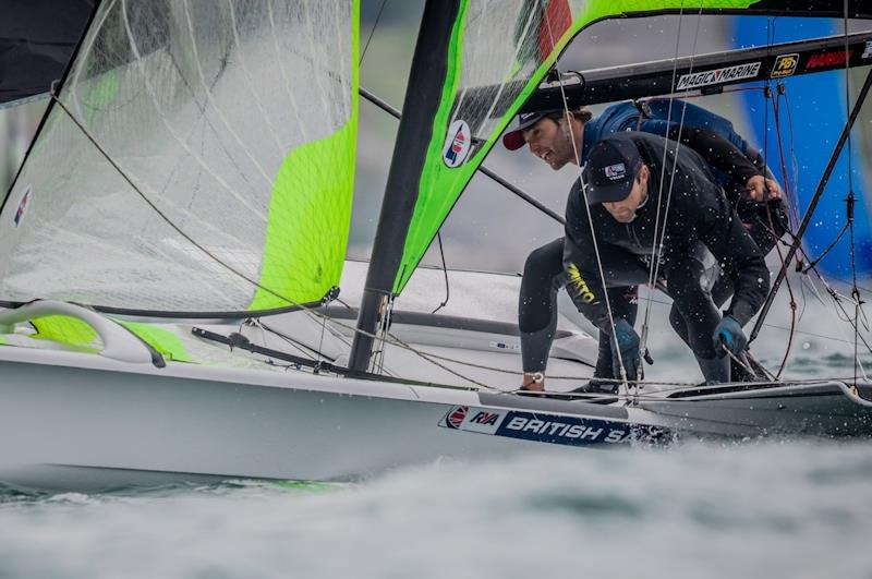 49er sailors Jack Hawkins and Chris Thomas are trying an International 14 - photo © RYA