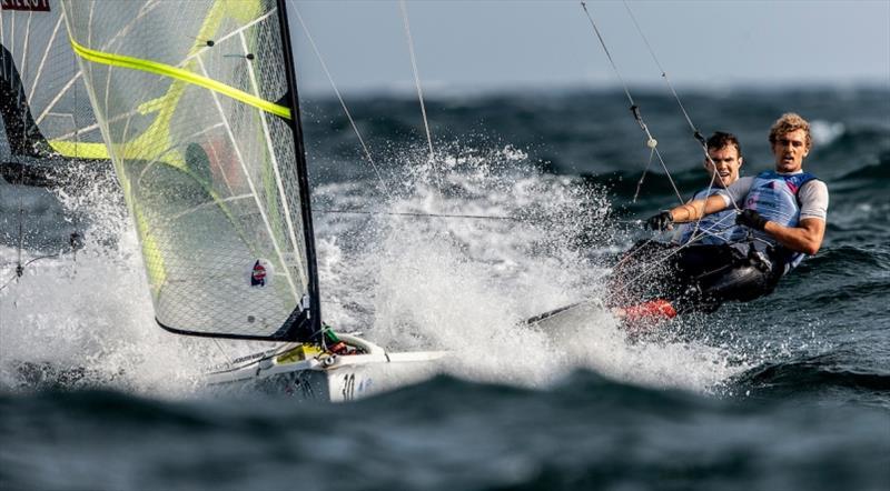 U.S. Men's 49er, Andrew Mollerus and Ian MacDiarmid - Hempel World Cup Series Enoshima, day 3 - photo © Pedro Martinez / Sailing Energy / World Sailing