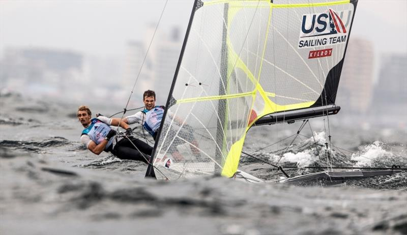 U.S. Men's 49er, Andrew Mollerus and Ian MacDiarmid - Hempel World Cup Series Enoshima day 4 photo copyright Pedro Martinez / Sailing Energy / World Sailing taken at  and featuring the 49er class