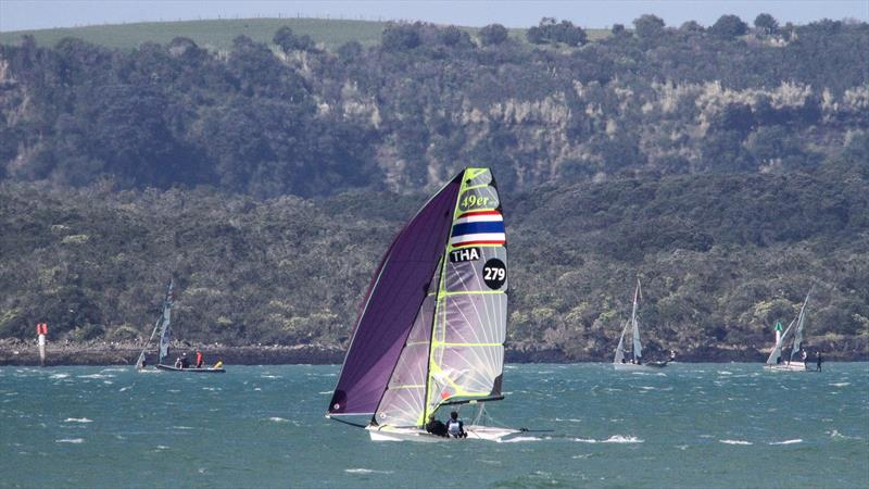 Thailand 49er training on the Waitemata Harbour, with another group lining up for a start in fresh conditions off Rangitoto Island,  ahead of the 2019 World Championships. The 49er, 49erFX and Nacra 17 World Championships get underway in four weeks. - photo © Richard Gladwell