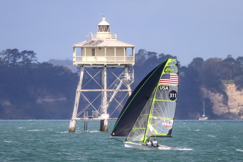 USA 49er training on the Waitemata Harbour ahead of the 2019 World Championships sails past Bean Rock, the iconic marker at the entrance to the inner Waitemata Harbour. The 49er, 49erFX and Nacra 17 World Championships get underway in four weeks. - photo © Richard Gladwell