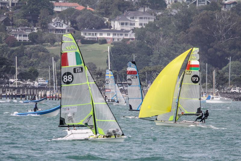 49ers and 49erFX's train on the Waitemata ahead of the 2019 Hyundai Worlds - photo © Richard Gladwell / Sail-World.com