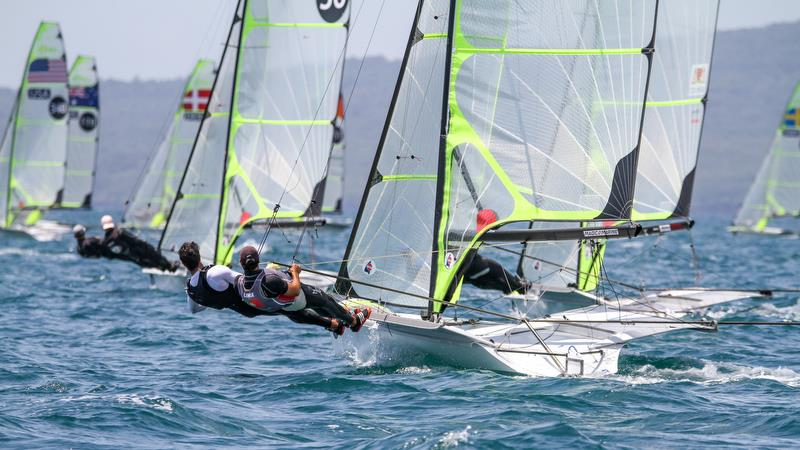 49er - Hyundai Worlds - Day 3 , December 5, , Auckland NZ photo copyright Richard Gladwell taken at Royal Akarana Yacht Club and featuring the 49er class