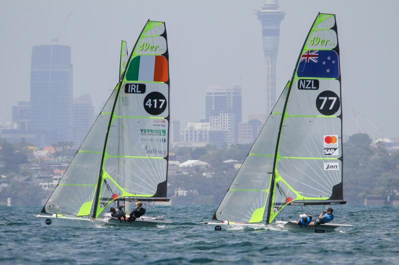 Peter Burling and Blair Tuke - 49er - Hyundai Worlds - Day 3 , December 5, , Auckland NZ photo copyright Richard Gladwell taken at Royal Akarana Yacht Club and featuring the 49er class