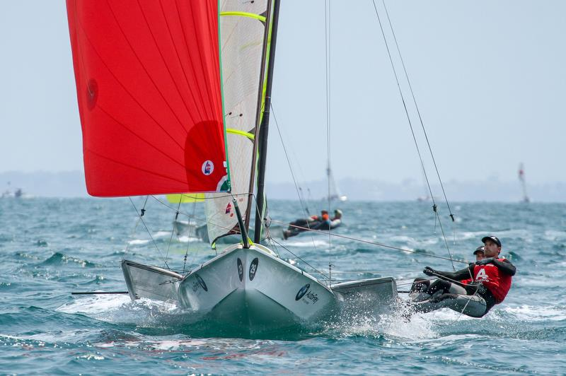 Benjamin Bildsrein & David Hussl (AUT) - 49er - Hyundai Worlds - Day 4, December 6, , Auckland NZ - photo © Richard Gladwell / Sail-World.com