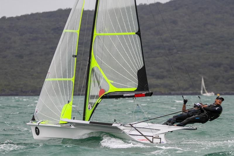 Logan Dunning Beck (NZL) lets go with some advice - Medal Race - 49er - 49er Worlds, - Day 6 - Auckland, December 3-8, - photo © Richard Gladwell / Sail-World.com