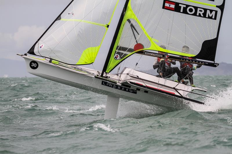 Joans Warrer & Jakob Jensen (DEN) go airborne - 49er - 49er Worlds, - Day 6 - Auckland, December 3-8, - photo © Richard Gladwell / Sail-World.com