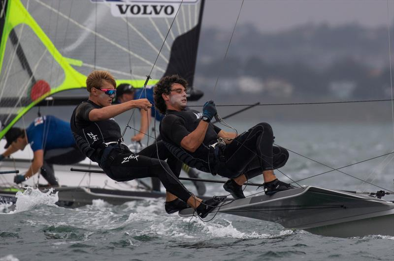 Sam Bacon and Henry Gautrey (NZL) - 49er - Day 3 - 2020 World Championships - Royal Geelong Yacht Club - February 2020 photo copyright Bill Phillips taken at Royal Geelong Yacht Club and featuring the 49er class