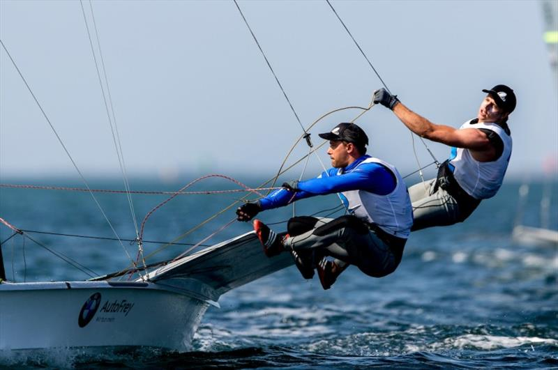 Benjamin Bildstein & David Hussl (AUT) lead the 49er pointscore - 2020 49er, 49er FX & Nacra 17 World Championship, day 4 - photo © Pedro Martinez / Sailing Energy