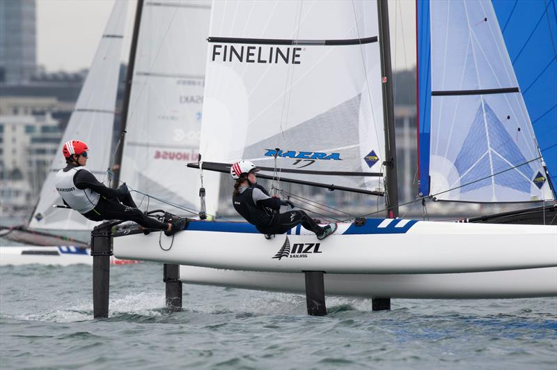 Micah Wilkinson and Erica Dawson - Nacra 17 - Day 4 - 2020 World Championships - Royal Geelong Yacht Club - February 2020 photo copyright Bill Phillips taken at Royal Geelong Yacht Club and featuring the 49er class