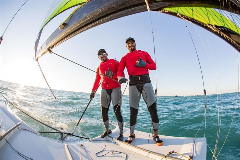 Musab Al Hadi and Waleed Al Kindi at 2020 World 49er Championship - photo © Oman Sail