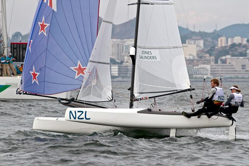 Gemma Jones was the only female helm in the Medal Race for the Nacra 17, Mixed Multihull at the Rio De Janeiro Olympics - photo © Richard Gladwell