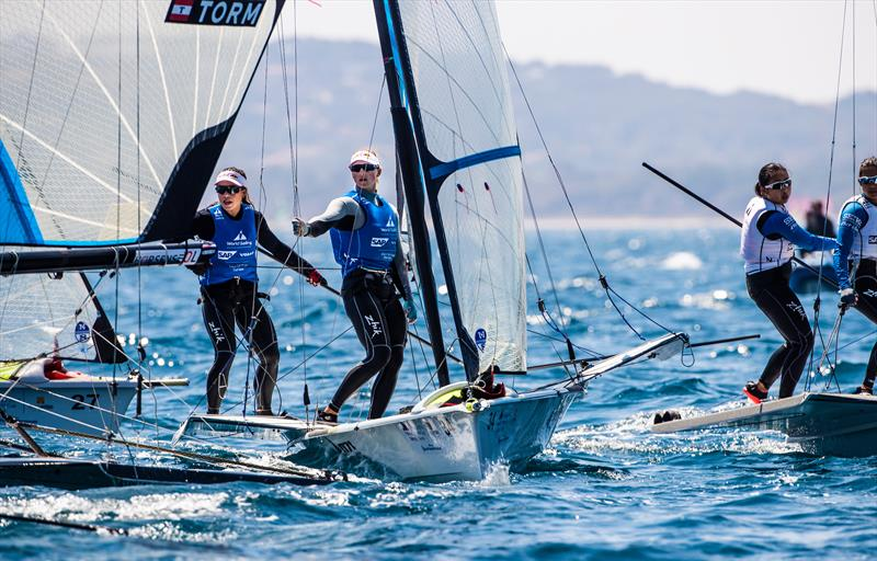 Alex Maloney and Molly Meech (NZL) are second in the 49erFX after Day 4 of the sailing World Cup Hyeres - photo © Richard Langdon / Sailing Energy