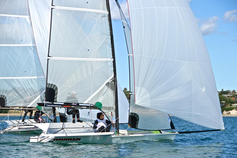 Developing new classes is an expensive, high risk process - 49erFX rig development using paired boats off Takapuna in 2012 - photo © Richard Gladwell