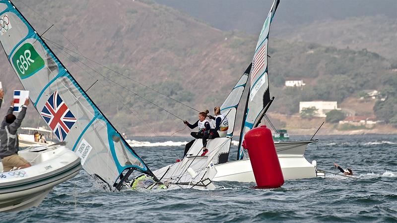 Poor crew work carries a heavy price (GBR and USA) - Medal race  49erFX - Rio Olympic Regatta - photo © Richard Gladwell