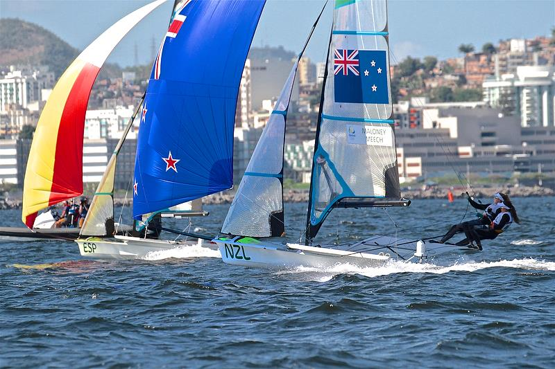 Alex Maloney and Molly Meech (NZL) approach the finish in a Qualifier - 49erFX - Rio Olympic Regatta - photo © Richard Gladwell