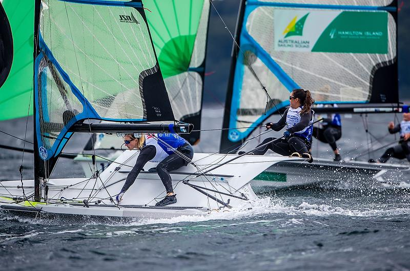 Alex Maloney and Molly Meech (NZL) 49er FX - Day 4 - Hempel Sailing World Championships, Aarhus - August 2018 - photo © Sailing Energy / World Sailing