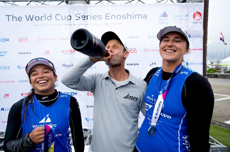 Alex Maloney, Nathan Handley (coach) and Molly Meech - 49er- NZL - Sailing World Cup Enoshima, August 2018 - photo © Sailing Energy