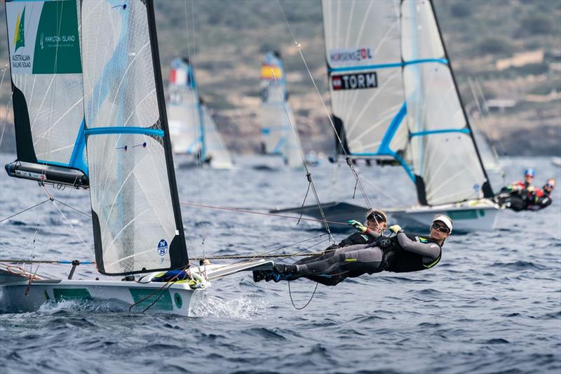 Tessa Lloyd and Jaime Ryan on the wire in the 49erFX- Princess Sofia Trophy 2019 - photo © Beau Outteridge