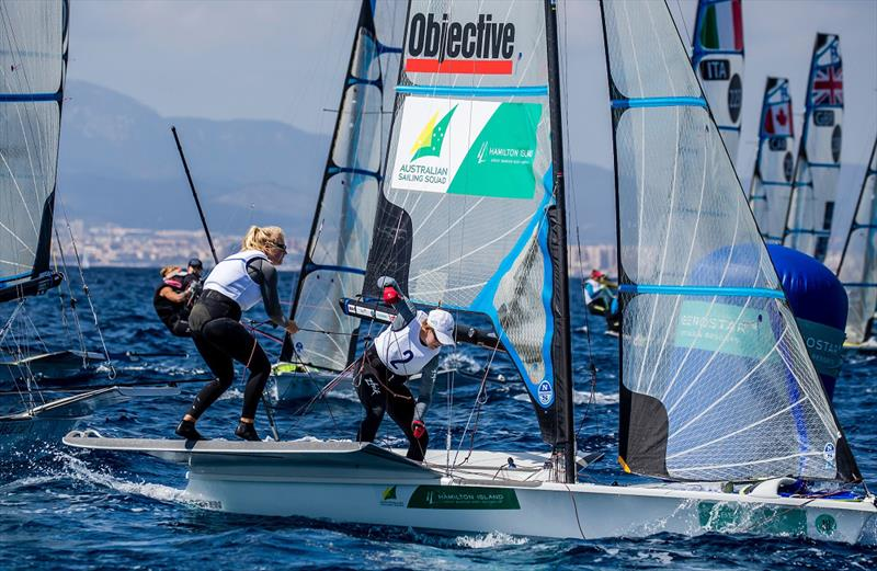Natasha Bryant and Annie Wilmot get amongst the 49erFX action - Princess Sofia Trophy - photo © Sailing Energy