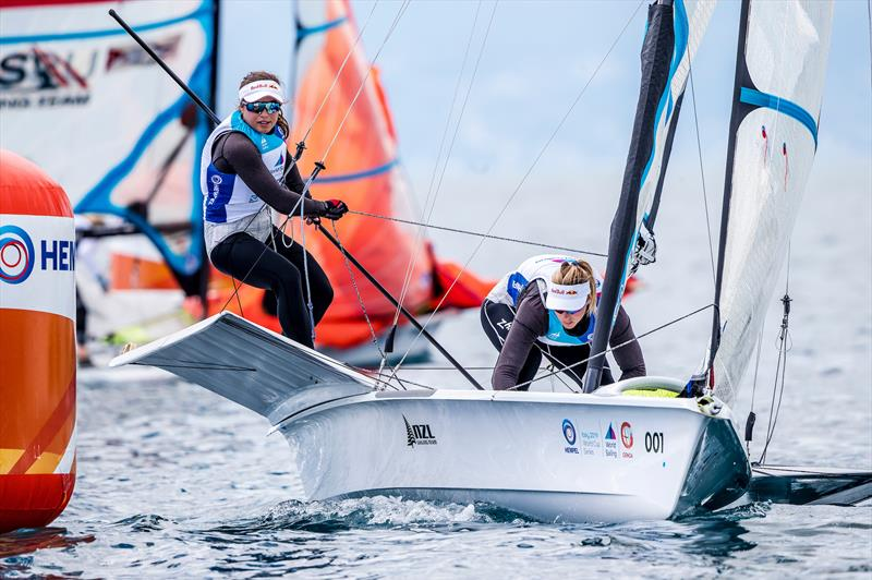 Alex Maloney and Molly Meech - 49erFX  - NZL Sailing Team - 2019 Hempel World Cup Series, Genoa, April 2019 photo copyright Sailing Energy taken at Yacht Club Italiano and featuring the 49er FX class