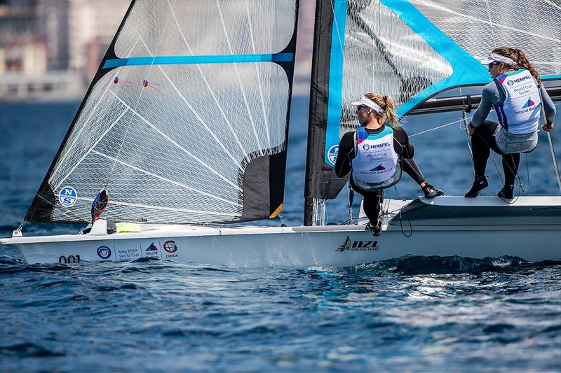Alex Maloney and Molly Meech- 49erFX- NZL- Day 6 - Hempel Sailing World Cup - Genoa - April 2019 - photo © Jesus Renedo / Sailing Energy