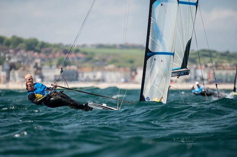 Vilma Bobeck and Malin Tengstrom - 2019 Volvo 49er, 49erFX and Nacra 17 European Championships photo copyright Drew Malcolm taken at Weymouth & Portland Sailing Academy and featuring the 49er FX class