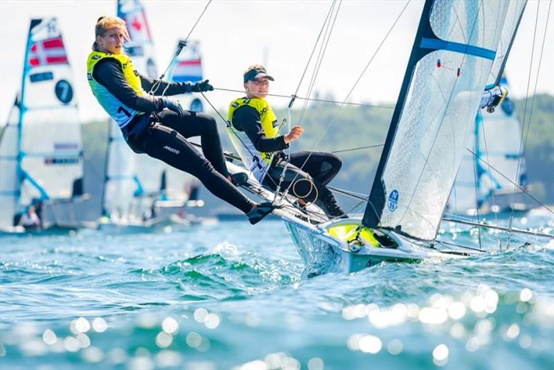 It was the first win of the Kieler Woche for Victoria Jurczok and Anika Lorenz in the 49erFX  - photo © Sascha Klahn