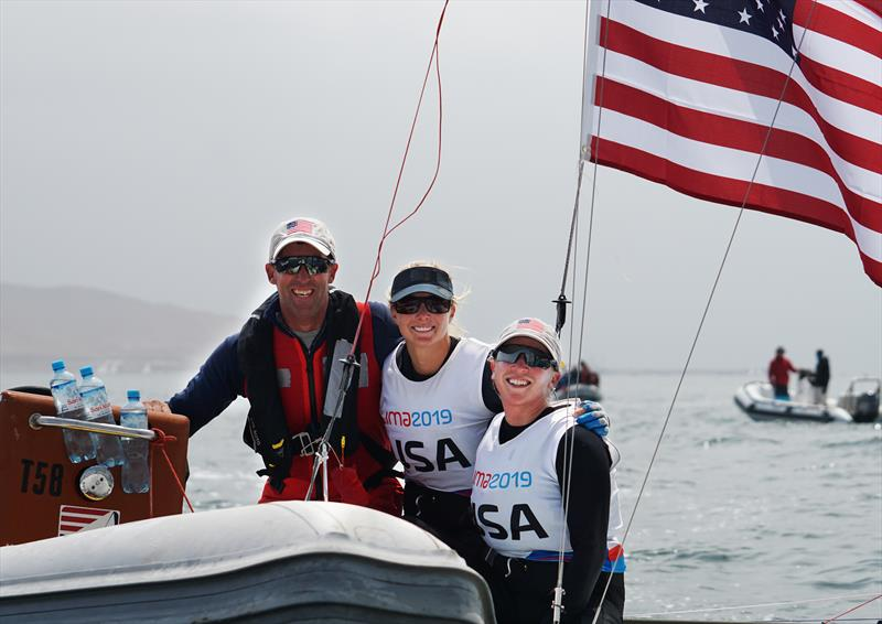 Malcolm Page, US Sailing's chief of Olympic sailing, with 49erFX sailors Stephanie Roble and Maggie Shea after they clinched the Silver Medal at the 2019 Pan American Games - photo © Photo courtesy of US Sailing/Brittney Manning