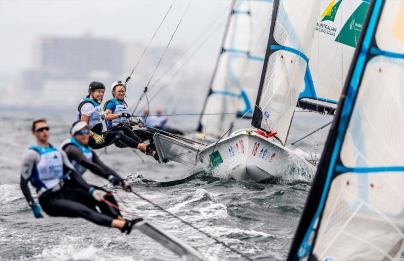 Tess Lloyd and Jaime Ryan - Hempel World Cup Series Enoshima, Day 5 photo copyright Pedro Martinez / Sailing Energy / World Sailing taken at  and featuring the 49er FX class