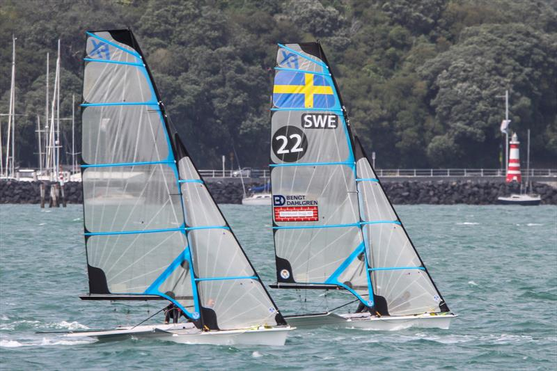 Swedish 49erFX crews train on the Waitemata ahead of the 2019 Hyundai Worlds - photo © Richard Gladwell / Sail-World.com