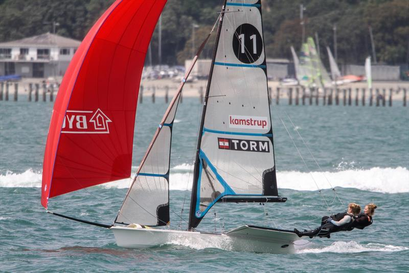 49erFX crew trains on the Waitemata ahead of the 2019 Hyundai Worlds - photo © Richard Gladwell / Sail-World.com