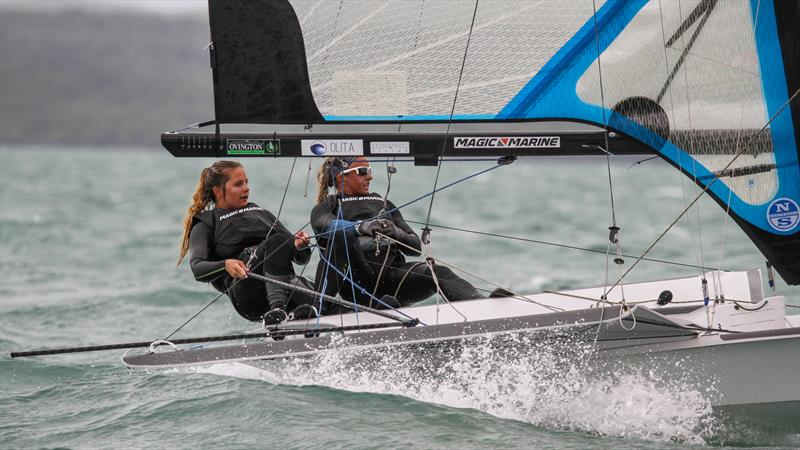 Paris Henken and Anna Tobias (USA) are competing at the 2020 49er FX Worlds with their eyes on the 2020 Tokyo Olympics - photo © Richard Gladwell / Sail-World.com