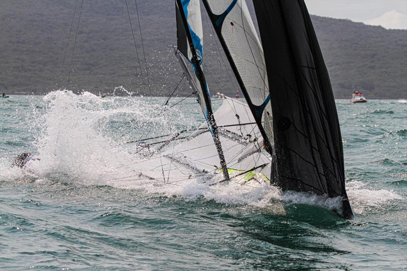 Molly Meech and Alex Maloney have a brief nosedive on the finish line of the final race in the Gold fleet - Hyundai 49erFX World Championships - December 2019 - photo © Richard Gladwell / Sail-World.com