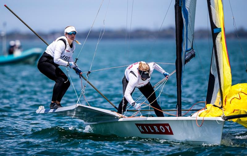 Stephanie Roble and Maggie Shea - 2020 49er, 49er FX & Nacra 17 World Championships, Day 4 - photo © Jesus Renedo / Sailing Energy