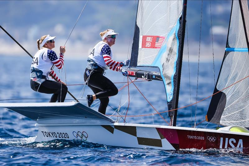 Stephanie Roble and Maggie Shea (USA) on day 7 of the Tokyo 2020 Olympic Sailing Competition - photo © Sailing Energy / World Sailing