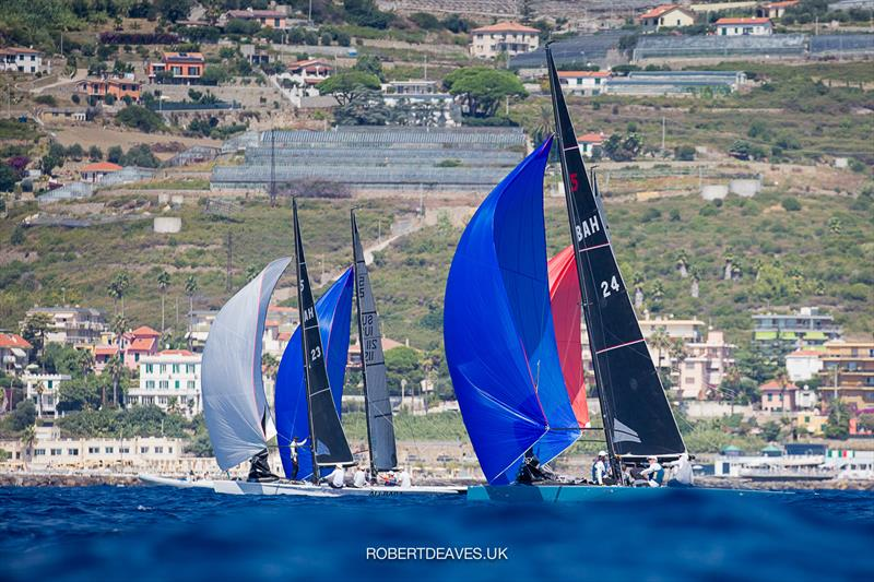 Close downwind on day 2 of the 2020 5.5 European Championship - photo © Robert Deaves