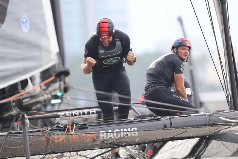 David Carr celebrates Land Rover BAR's win at Louis Vuitton America's Cup World Series in Fukuoka, Japan - photo © Lloyd Images