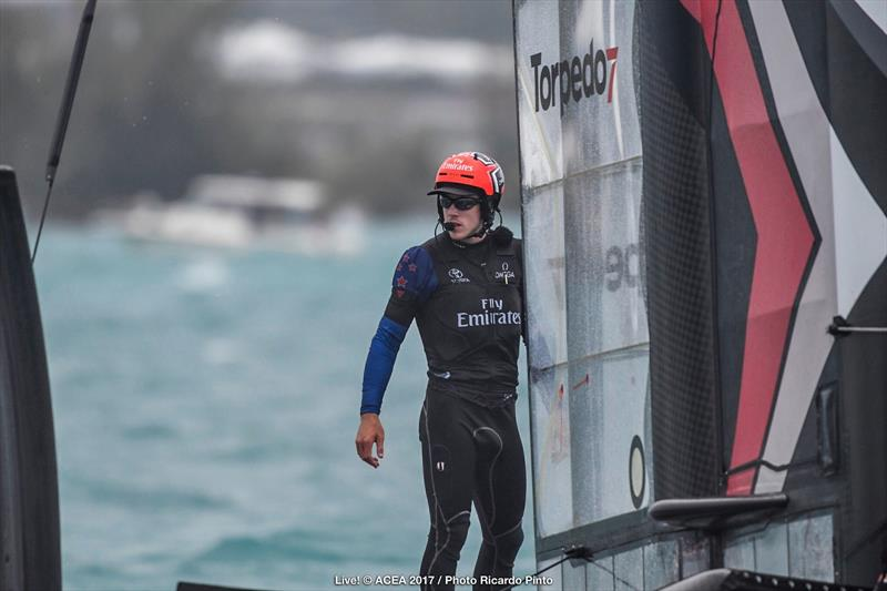 Emirates Team New Zealand capsize on the second day of the Louis Vuitton America's Cup Challenger Playoffs - photo © ACEA 2017 / Ricardo Pinto