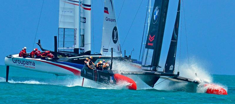 Groupama Team France and Oracle Team USA in the Round Robin phase of the Qualifiers- 2017 America's Cup Bermuda - photo © Scott Stallard
