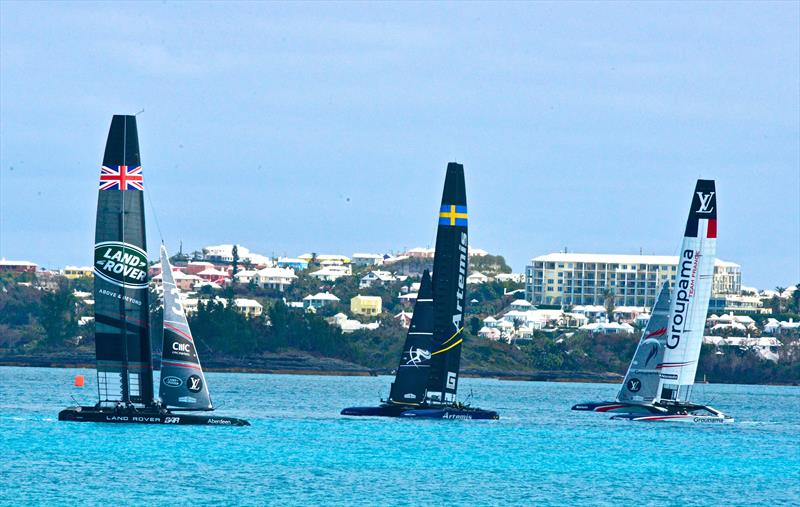 Three of the Framework signatories training together on March 25, 2017 ahead of the arrival of Emirates Team New Zealand- 2017 America's Cup Bermuda - photo © Scott Stallard