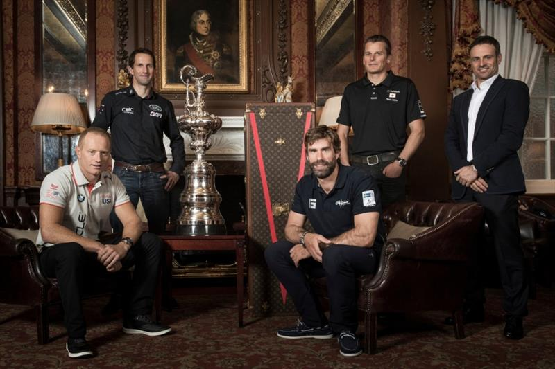 America's Cup Framework announcement, January 26, 2017. From left at rerar, Ben Ainslie (LRBAR), Dean Barker (Softbank TJ), Franck Cammas (Groupama TF), in Front: Jimmy Spithill (OTUSA), Iain Percy (Artemis) - photo © America's Cup Events Authority