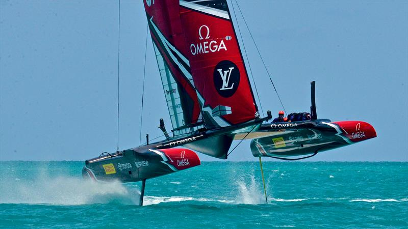 Emirates Team New Zealand in full flight before the start of racing on June 5, 2017 Bermuda - photo © Scott Stallard