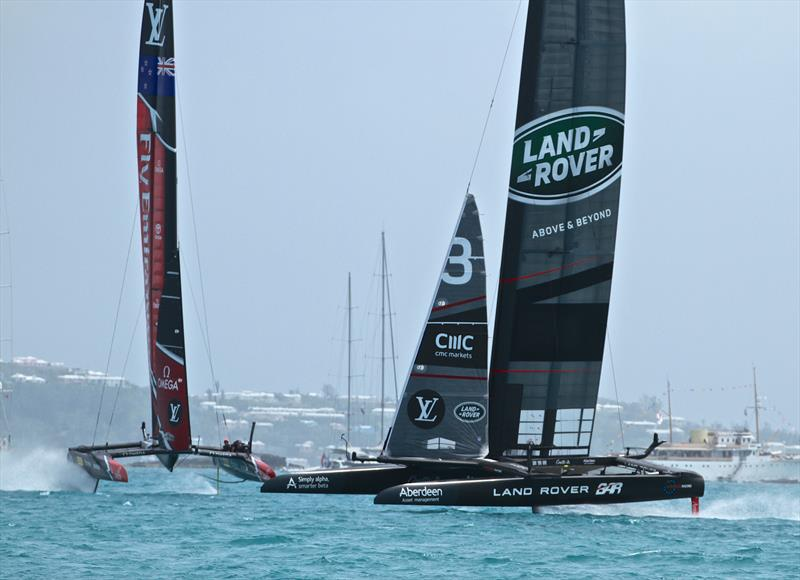 Land Rover BAR enjoys a rare moment crossing ahead of Emirates Team NZ on Day 3 of the Semi-Finals - photo © Richard Gladwell