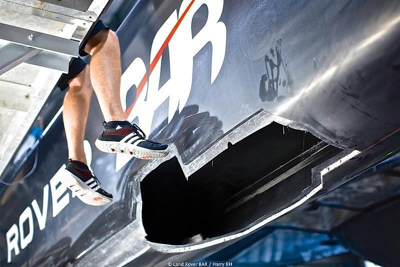 Land Rover BAR's shore crew performed a herculean repair after the collision with Softbank Team Japan - America's Cup Qualifier- Day 1 - photo © Harry KH / Land Rover BAR