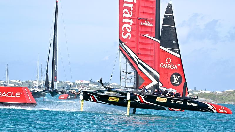 Oracle Team USA and Emirates Team NZ - Race 5 - Qualifiers - Day 1, 35th America's Cup, Bermuda, May 27, 2017 - photo © Richard Gladwell