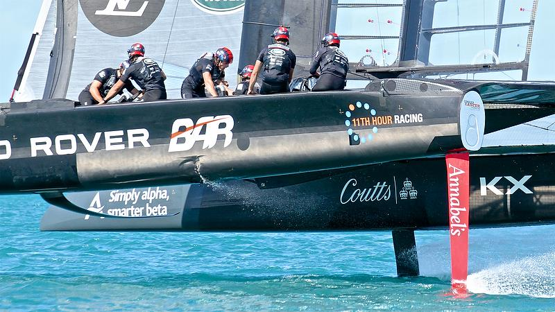 Damage to port hull Land Rover BAR - Race 6 Qualifiers - Day 1, 35th America's Cup, Bermuda, May 27, 2017Qualifiers - Day 1, 35th America's Cup, Bermuda, May 27, 2017 - photo © Richard Gladwell