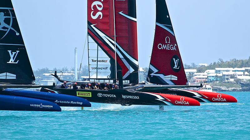 Artemis Racing and Emirates Team NZ, starts, Race 1, Round Robin2, America's Cup Qualifier - Day 4, May 30, 2017 - photo © Richard Gladwell