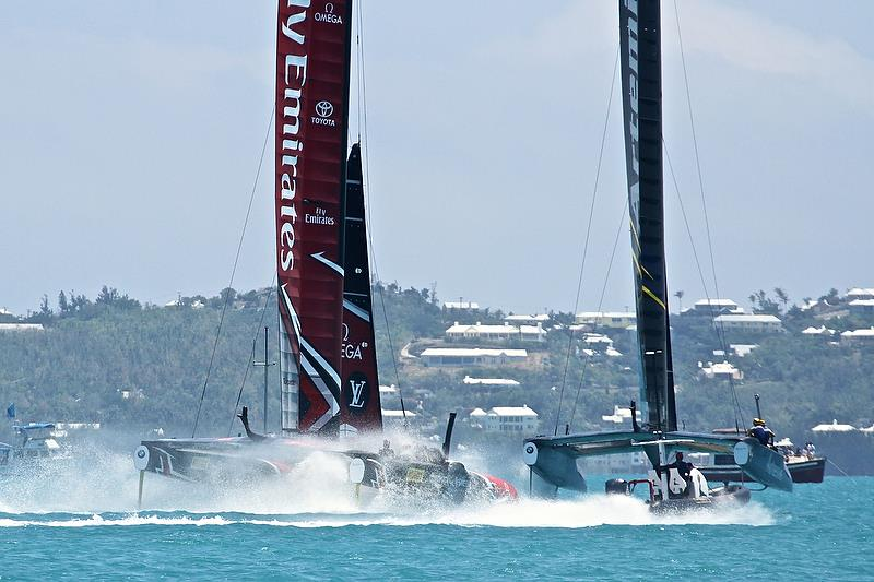 Emirates Team New Zealand chase Artemis Racing - Round Robin 2, Day 4 - 35th America's Cup - Bermuda May 30, 2017 - photo © Richard Gladwell
